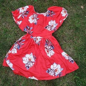 Red floral layered dress